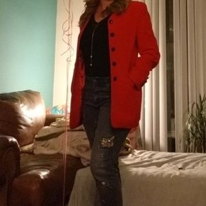 {Escada} Margaretha Red Vintage Angora Wool Jacket